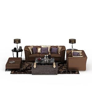 3d歐式玫瑰金組合沙發模型