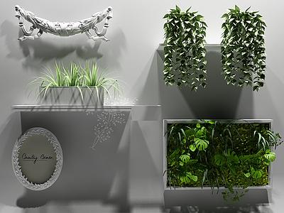 3d<font class='myIsRed'>綠植墻</font>飾植物模型