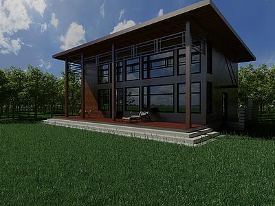 3d戶外景觀木屋模型