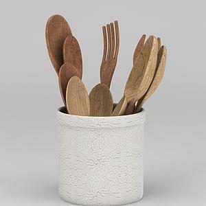 现代木质餐具模型
