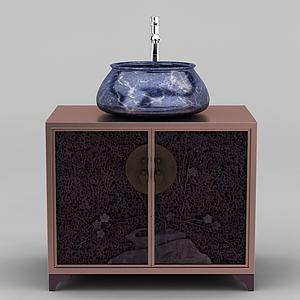 現代新中式洗手臺模型