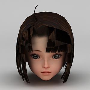 劍網三游戲人物發型發飾小女孩發型模型