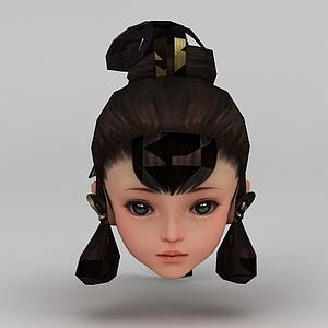 劍網三游戲人物古裝發型模型