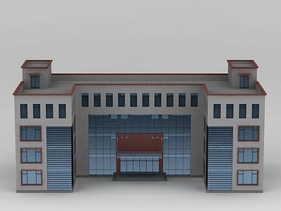 3d學校建筑模型