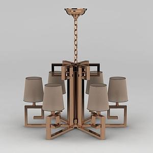 3d歐式玫瑰金客廳大吊燈模型