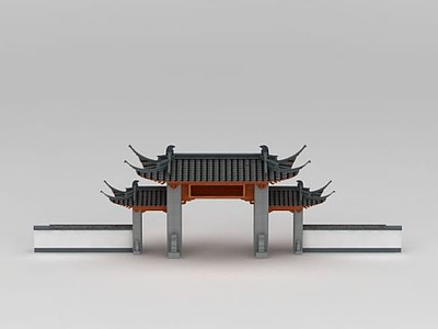 3d古建大門模型