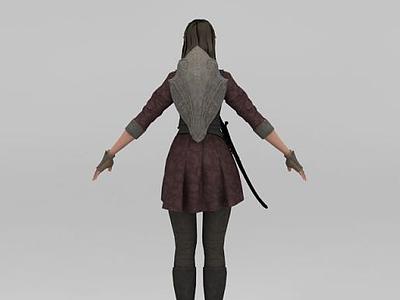 3d游戲女騎士模型