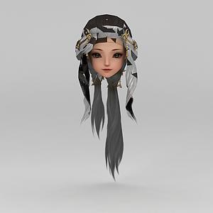 劍網三古裝女孩發飾發型模型