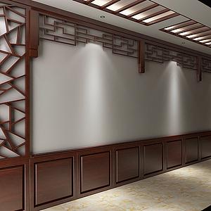 中式走廊木裝飾模型