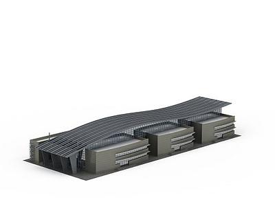 3d大型商場活動中心建筑模型