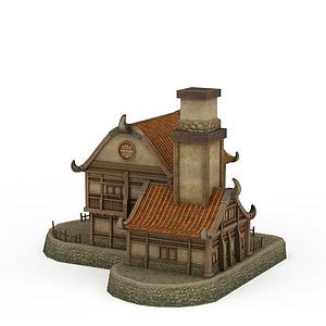 3d劍靈場景<font class='myIsRed'>房子</font>模型