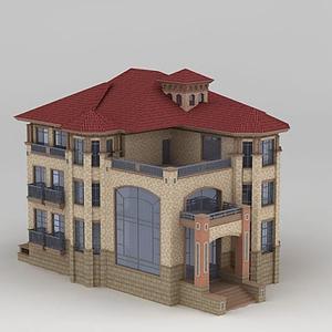3d多層時尚別墅模型