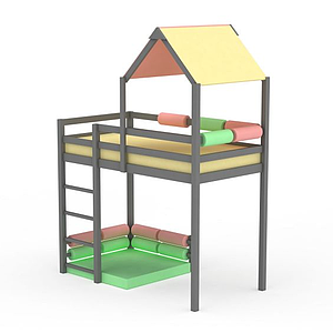 3d創意彩色<font class='myIsRed'>兒童床</font>模型