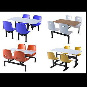 現代食堂餐廳連體桌椅模型