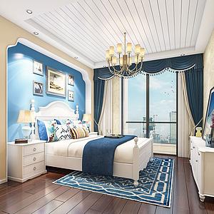 地中海風格臥室模型