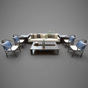 中式沙發組合模型