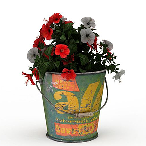 鐵桶盆栽模型