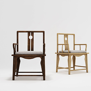 現代中式單椅模型