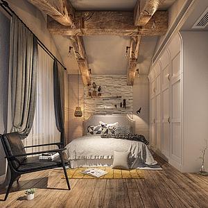 工业风格卧室模型