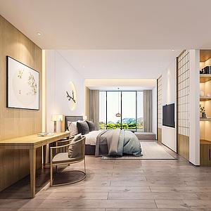 3d日式风格卧室模型