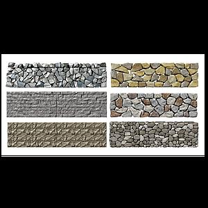 現代自然景觀石頭圍墻模型