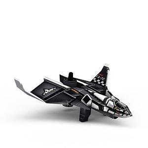 3d紅色警戒美軍<font class='myIsRed'>飛機</font>游戲裝備模型