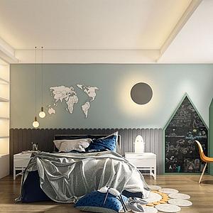 北歐風格臥室模型
