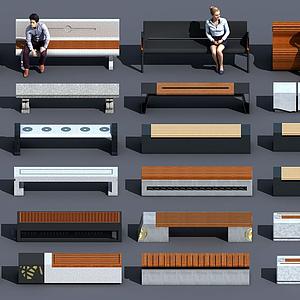 新中式戶外公園休閑座椅模型