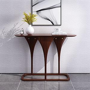 現代簡約實木玄關柜模型