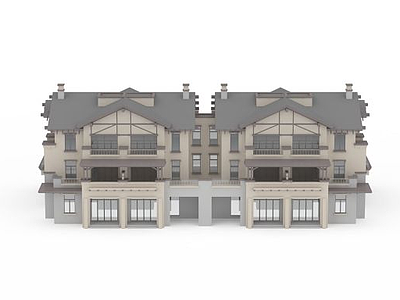 3d別墅建筑群模型