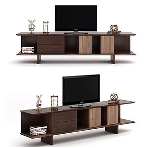 現代簡約木制電視柜模型