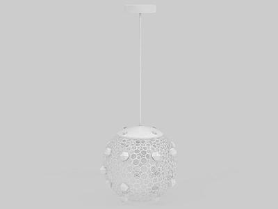 3d創意白色球形吊燈免費模型