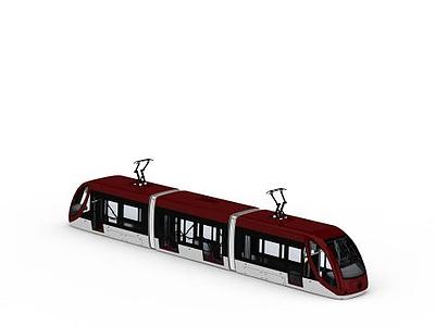 3d紅色電車模型