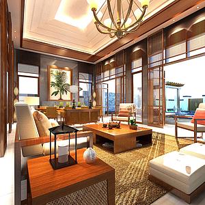 東南亞別墅客廳模型