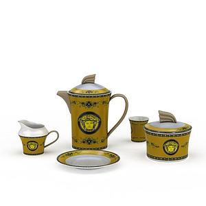 歐式陶瓷印花茶具模型
