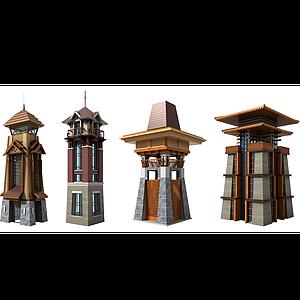 東南亞景觀瞭望塔樓模型