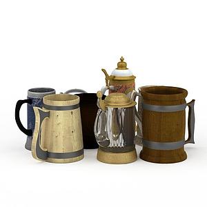 茶杯水杯組合模型