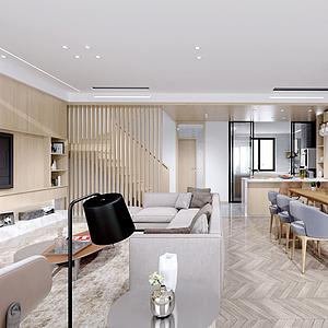現代客廳餐廳模型
