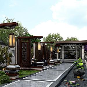 新中式庭院景觀園林植物模型