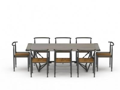 3d戶外簡易餐桌餐椅組合模型
