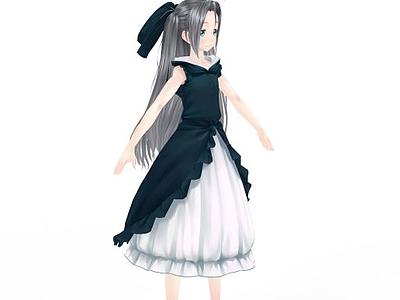 動漫角色游戲人物女孩3d模型