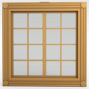 現代實木格子窗戶模型