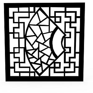 現代黑色雕花窗戶模型