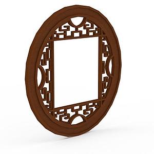 中式實木雕花圓形窗戶模型
