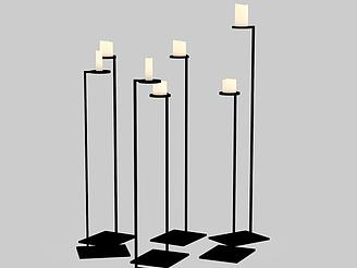 現代黑色金屬燭臺燈模型