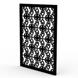 精美黑色雕花實木窗戶模型