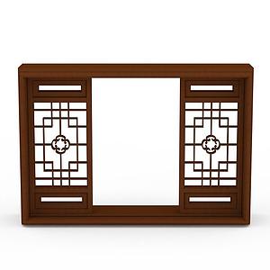 中式實木雕花窗戶模型