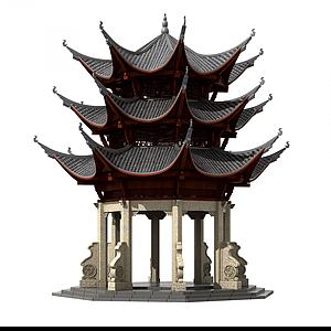3d中式古建塔樓佛塔鐘樓模型