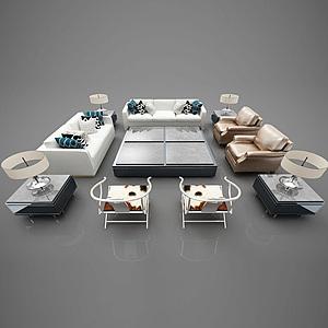 现代风格沙发组合模型
