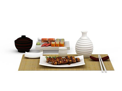 3d精美日式餐具食品組合模型